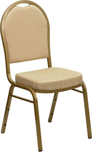 Banquet Chair Beige Patterned Fabric Restaurant Chair Dome Back Stacking Chair