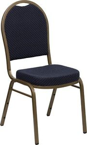 Banquet Chair Navy Patterned Fabric Restaurant Chair Dome Back Stacking Chair