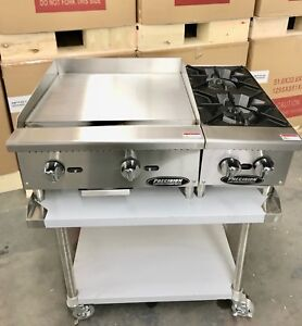 New 24 Flat Griddle Grill 2 Burner Range Hot Plate W Table Package Restaurant