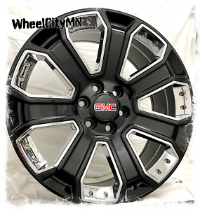 20 Inch Gloss Black Chrome Inserts 2015 Gmc Sierra Denali Oe Replica Rims 6x5 5