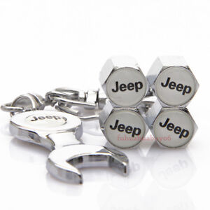 4pcs Car Accessories Tire Valve Caps Valve Dust Covers Wrench Keychain For Jeep