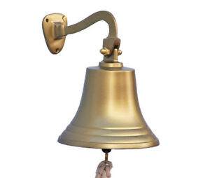 Antiqued Brass Finish Solid Aluminum Ship S Bell 7 Nautical Hanging Wall Decor