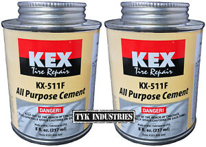 2 Kex Cold Vulcanizing Rubber Tire And Tube Patch Plug Repair Cement 8oz Cans