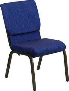 18 5 Wide Navy Blue Patterned Fabric Stacking Church Chair W Gold Vein Frame