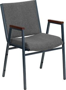 Heavy Duty Gray Fabric Stackable Office Side Chair Reception Guest Side Chair