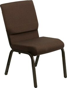 18 5 Wide Brown Color Fabric Stacking Church Chair With Gold Vein Frame