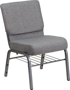 21 Extra Wide Gray Church Chair With Book Rack With Silver Vein Frame
