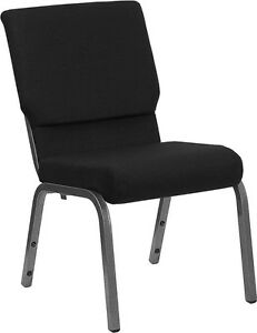 18 5 Wide Black Color Fabric Stacking Church Chair With Silver Vein Frame