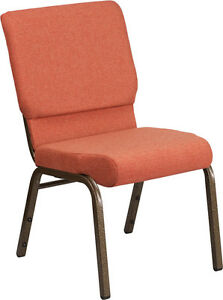 18 5 Wide Cinnamon Color Fabric Stacking Church Chair With Gold Vein Frame