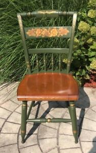Vintage Green Hitchcock Farmhouse Dining Chair Stenciled Plank Style Seat Nice