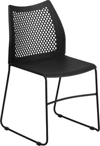Heavy Duty Black Stack Office Chair With Sled Metal Base Waiting Room Chair