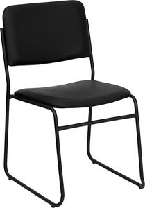 Heavy Duty Black Vinyl Stack Office Chair With Sled Base Waiting Room Chair