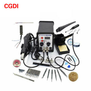 8586 110v Solder Station 2 In 1 Digital Display Smd Hot Air Rework Station