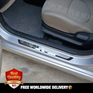 Stainless Steel Door Sill Scuff Plate Protector For Hyundai Solaris 2010 2016