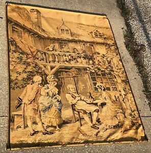 Vintage 63 Large French Nobles Tavern Courting Woven Tapestry W Brass Rods