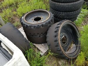 Set Of 4 Skid Steer Hard Solid Tires W Rims Came Off Of A Bobcat S175