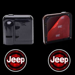2pcs Wireless Led Car Door Welcome Logo Projectors Lights For Jeep