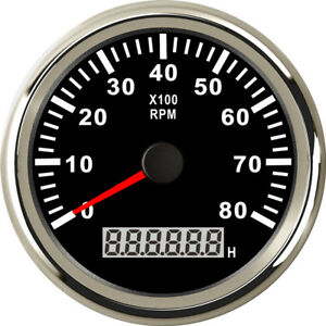 85mm Tachometer 0 8000rpm 9v 32v Stainless For Diesel Gasoline Engine Black Face