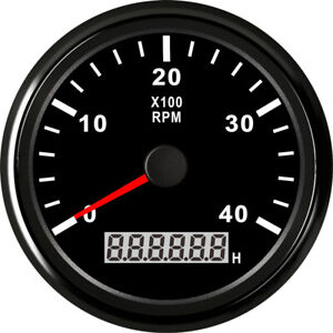 85mm Tachometer 0 4000rpm 9v 32v Stainless For Diesel Gasoline Engine Black Face