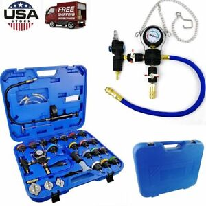 28pcs Radiator Pressure Tester Test Kit Coolant Vacuum Adapters System With Case