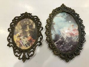 Vintage Pair Oval Ornate Brass Frames Glass Victorian Prints Italy