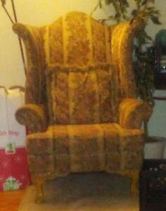 1 Pair Of Wing Back Chairs With Matching Pillows Good Condition Very Clean