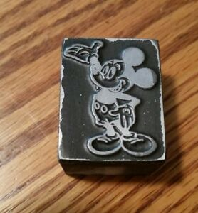 Vintage Rare Disney mickey Mouse Metal wood Printing Block Stamp famous Pose