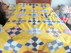 Vintage Cotton Hand Stitched Pieced 9 Patch Quilt Top Yellow Blue Feed Sacks
