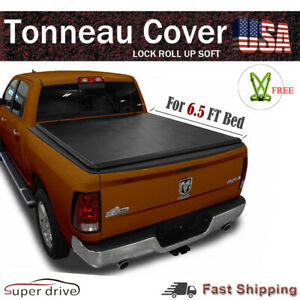 Lock Roll Up Soft Tonneau Cover For 2005 2011 Dodge Dakota 6 5 Ft 78 Bed
