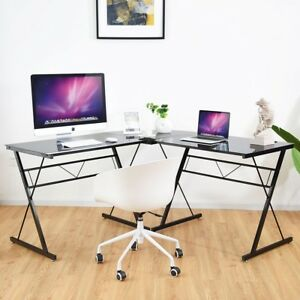 L shape Computer Desk Tempered Glass Corner Laptop Table Workstation Home Office