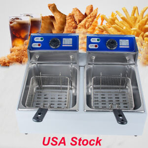 usa 5000w Electric Countertop Deep Fryer Dual Tank Commercial Restaurant 11l