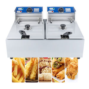 Usa 5000w Electric Countertop Deep Fryer Dual Tank Commercial Restaurant Steel