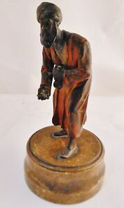 Fine Antique Austrian Cold Painted Metal Figure Of An Arabic Man With Money Bag