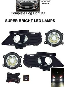 Clear Bright Led Fog Lights Lamps Kit For 2013 16 Ford Fusion S Se Dot Harness