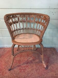 Antique Heywood Wakefield Rattan Wicker Ornate Chair Gardner Ma