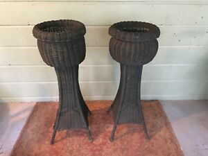 Antique Rattan Wicker Porch Planters