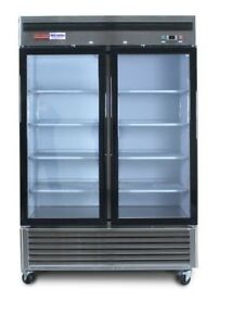 New Freezer 2 Double Door Glass Front Reach In Freezer Frozen Food Merchandiser