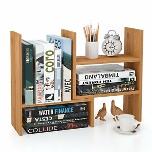 Homfa Bamboo Desk Storage Organizer Adjustable Desktop Display Shelf Rack