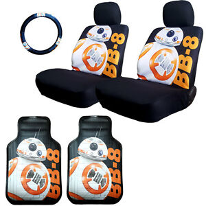 For Kia New Disney Star Wars Bb 8 Car Seat Steering Wheel Cover Mats Set For