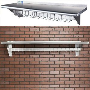 All Size Available Stainless Steel Wall Mounted Pot Rack With Shelf And 18 Hooks