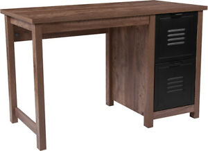 Contemporary Crosscut Oak Wood Grain Finish Computer Desk With Metal Drawers