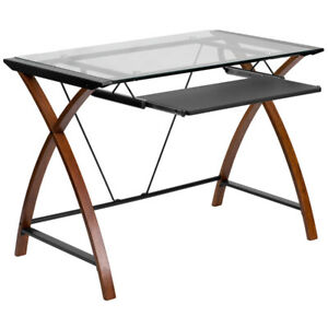 Glass Computer Desk With Pull out Keyboard And Powder Coated Frame Finish