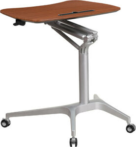 Adjustable Mobile Sit down Stand up Computer Desk In Mahogany W 28 75 w Top