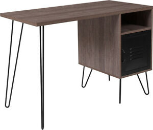 Rustic Wood Grain Finish Computer Desk W metal Cabinet Door Black Metal Legs