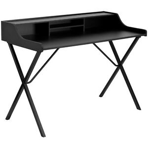 Contemporary Sleek Design Black Office Computer Desk With Top Shelf