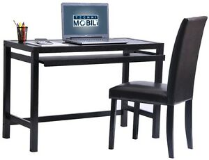Modern Stylish Computer Desk Chair Set W pullout Keyboard In Wenge Finish