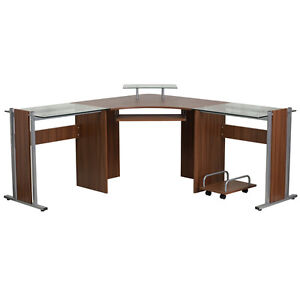 Teakwood Laminate L Shaped Corner Desk With Pull out Keyboard Tray And Cpu Cart