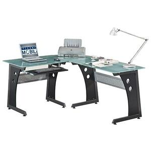 Modern Computer Desk With Tempered Glass And Pullout Keyboard Tray In Graphite