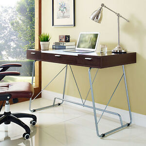 Modern Contemporary Office Computer Desk In Cherry Finish W 3 Storage Drawers