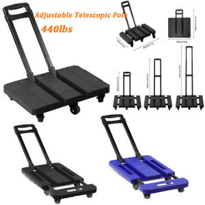 Foldable 440lb Hand Truck Dolly Collapsible Cart Luggage Trolley 6 Wheels Tool